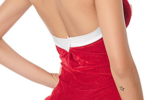 Confortables Femmes Arc Orthographier Couleur Licol Paquet Noël Hanche Mini Robe Rouge
