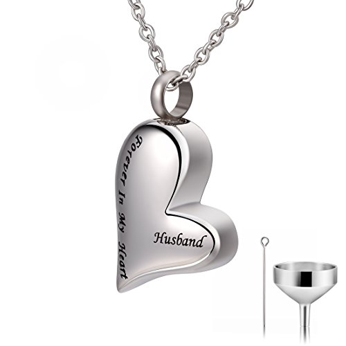 CAT EYE JEWELS Husband Forever in My Heart Keepsake Memorial Urn Necklace with Funnel -
