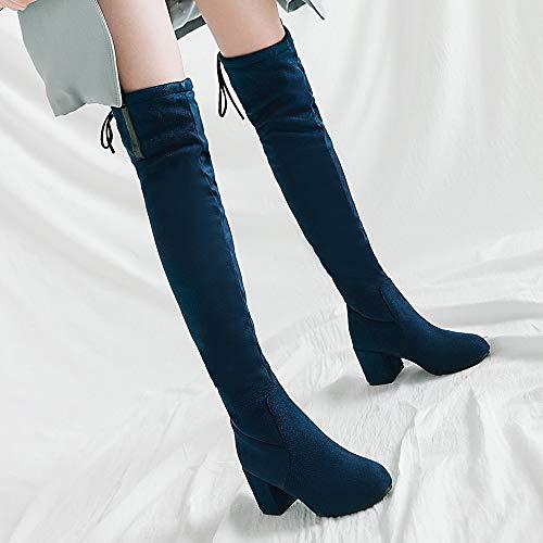 Tacco Tacco Stivali sopra al TAOFFEN Blue Donna Donna Ginocchio Gli Blocco 2 Moda fWwaxPxgBq