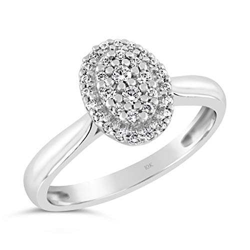 - Brilliant Expressions 10K White Gold 1/5 Cttw Conflict Free Diamond Oval Halo Cluster Engagement Ring (I-J Color, I2-I3 Clarity), Size 6