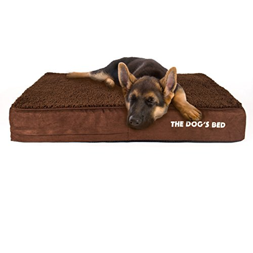 The Dog's Bed, Premium Plush Orthopedic Waterproof Memory Foam Dog Beds, 5 Sizes/7 Colors: Eases Pet Arthritis, Hip Dysplasia & Post Op Pain, Quality Therapeutic & Supportive Bed, Washable Covers (Costco Sunbrella)
