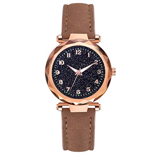 Orcbee  _Luxury Leather Belt Quartz Watch Creative Glass Starry Sky Dial Women Watch (Brown)