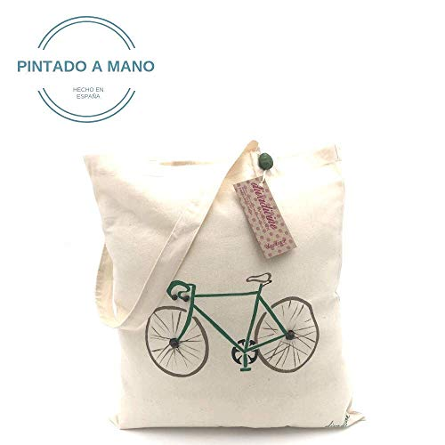 Bolso de algodón orgánico bici verde pintada a mano: Amazon.es: Handmade