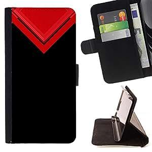 GIFT CHOICE / Billetera de cuero Estuche protector Cáscara Funda Caja de la carpeta Cubierta Caso / Wallet Case for Apple Iphone 5 / 5S // Black Red Triangle //