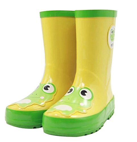 Panda Superstore Cute Starry Kids' Rain Boots Yellow Frog Children Rainy Days Shoes 17.2CM (Day Frogs Rainy)