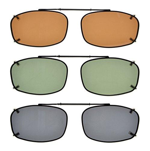 Eyekepper Grey/Brown/G15 Lens 3-pack Clip-on Polarized Sunglasses 2 1/8