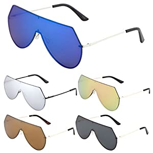 Rimless Oversized Flat Top Shield Aviator Sunglasses