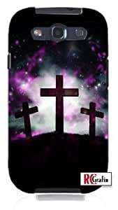 Three Crosses trinity Outer Space Galactic Unique Quality Hard Snap On Case for Samsung Galaxy S3 SIII i9300 (WHITE)