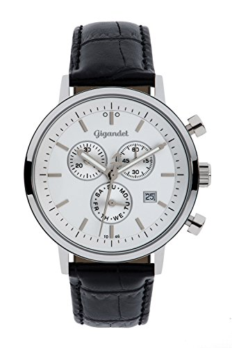 Gigandet Men's/Women's Quartz Watch Classico Chronograph Analog Leather Strap Silver Black G6-001