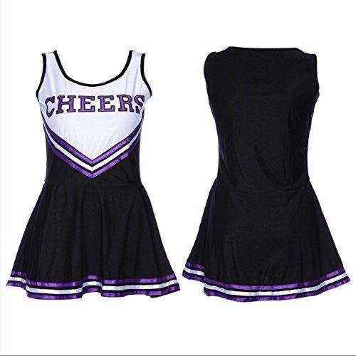 [Ladyker Womens Cheerleader Costume Cheerleading Halloween Uniform Fancy Dress Black M] (Cheerleading Costumes Halloween)