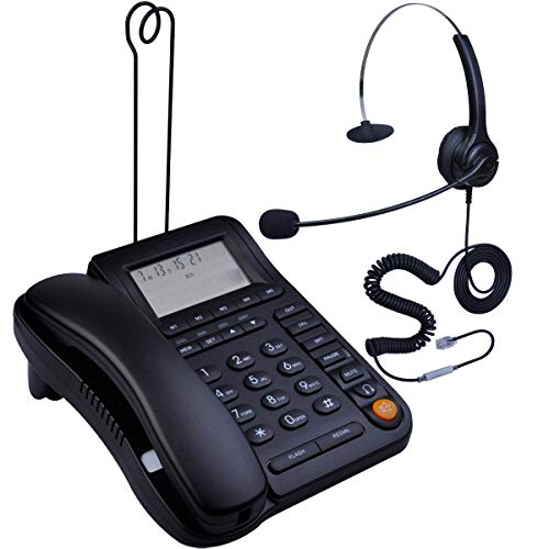 - HePesTer P-017BN-2 Call Center Corded Phone with Headset Caller ID Speakerphone Home Office Landline Telephone