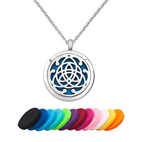 LoEnMe Jewelry Aromatherapy Essential Oil Diffuser Necklace Silver Celtic Knot Locket Pendant Family