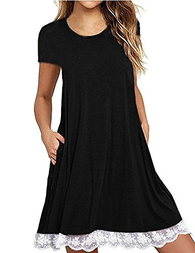 Womens Loose Short Sleeve Lace Splicing Hem Pleated A Line Dress with Pockets Black,XL