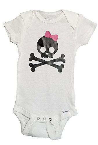 Mari Kyrios Creations Pink Bow Skull & Cross Bones Punk Rock Bodysuit Romper Jolly Roger - Skull Pink Bones