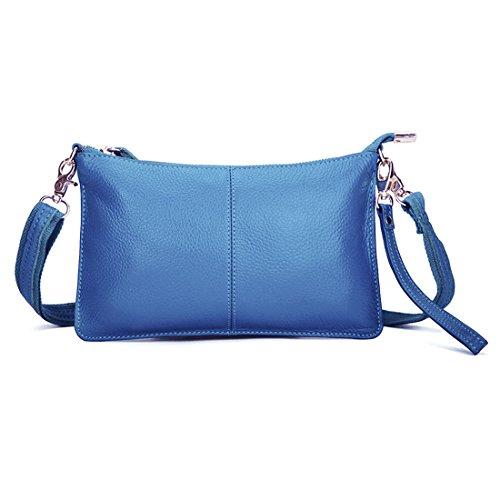SEALINF Women's Cowhide Leather Clutch Handbag Small Shoulder Bag Purse (blue)