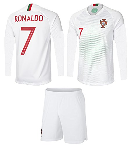 Portugal Cristiano Ronaldo #7 Soccer Jersey and Shorts Kids Youth Sizes Away Football World Cup Premium Gift (YS 6-8 Years, Away Long Sleeves)