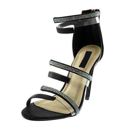 Angkorly Zapatillas Moda Tacón escarpín Sandalias Stiletto Altas Correa de Tobillo Mujer Strass Multi-Correa Transparente Tacón de Aguja Alto 11 cm Negro
