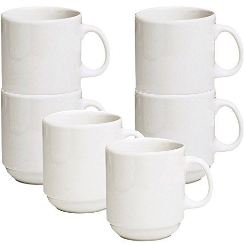 Stackable Ceramic Diner Coffee and Tea Mugs with Pan Scraper, 12 Ounce (6-Pack, White Ivory) ()