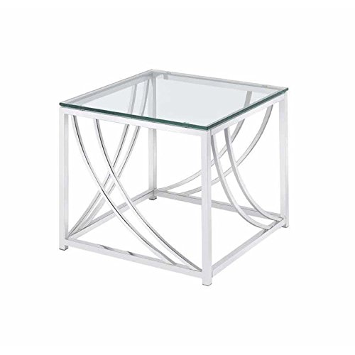Coaster Glass Top End Table in Chrome