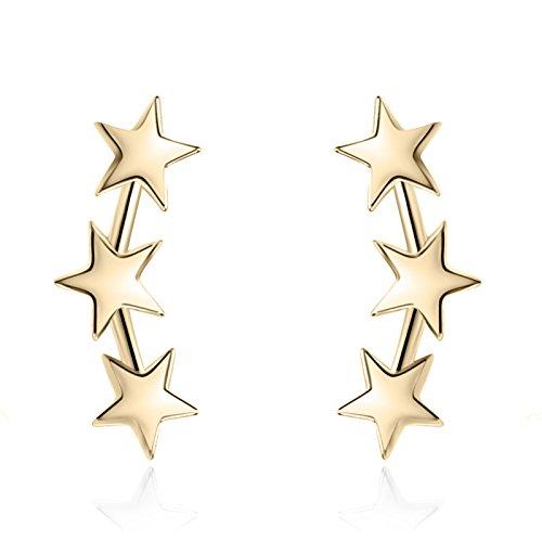 YAN & LEI Sterling Silver Triple Stars Stud Earrings Sweep Up Ear Climber Cuff Wrap Crawler