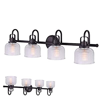 Oil Rubbed Bronze Vanity Light Bath Wall Fixture Clear Double Prismatic Glass Globes ...