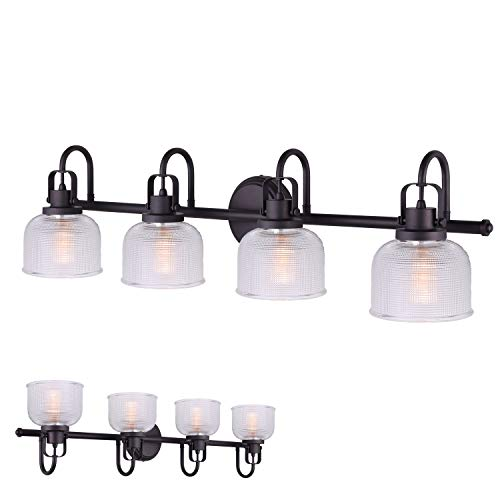 Oil Rubbed Bronze 4 Bulb Vanity Light Bath Wall Fixture Clear Double Prismatic Glass Globes ()