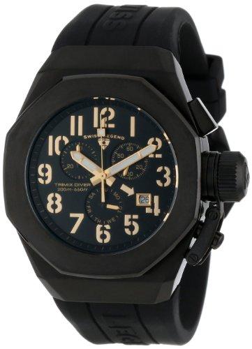 Swiss Legend Men's 10542-BB-01-GA Trimix Diver Chronograph Black Dial Black Silicone - Watches Men Legend Swiss