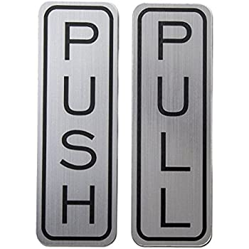 Amazon Com Push Pull Round Door Sign Brushed Silver