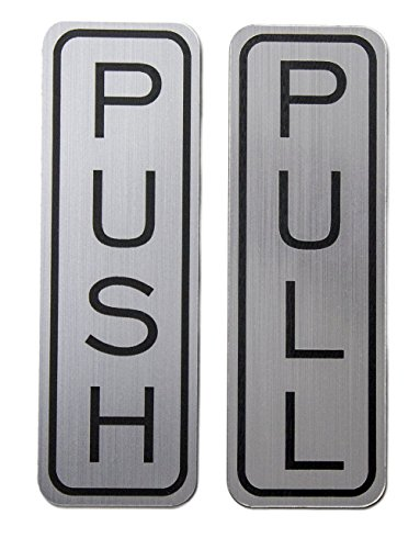 Do4U 5.1x1.6 Brushed Stainless Steel Premium Vertical Push Pull Door Sign Push/Pull Set - Stainless Steel (Vertical 1 Pair)