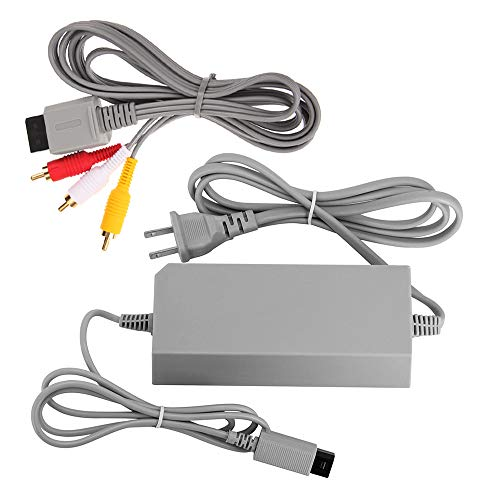AreMe Wii Replacement Cables Set, Wii AC Power Adapter Block and AV Cable for Nintendo Wii (Wires For Wii)