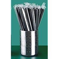 100 Pcs Flexible Plastic Milk Tea Straws | Black BPA-Free Disposable Straw BESTDEALHK