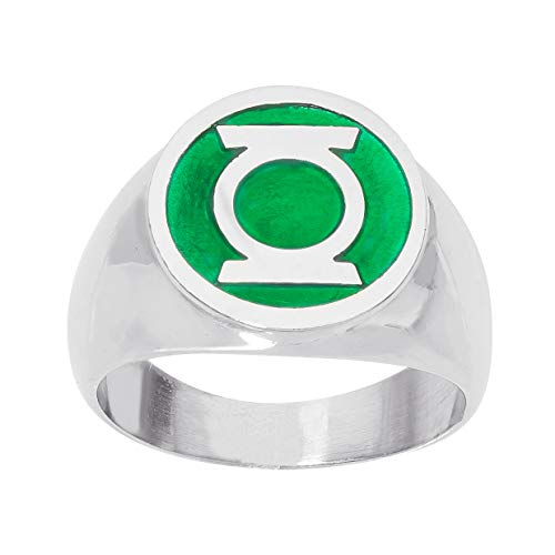 DC Comics Mens Stainless Steel Justice League Superhero Logo Ring Jewelry, Green Lantern, Size 8 -