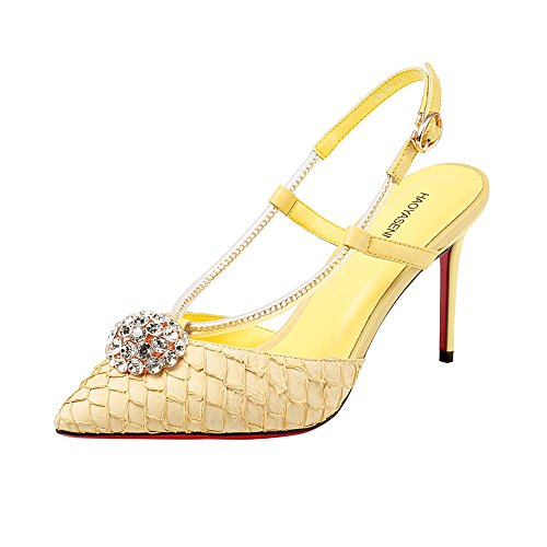 Sandals ZHIRONG Spring And Summer Single Shoes Rhinestone Package Toes Pointed Toe High Heel Banquet Women's Shoes (Size : EU39/UK6/CN39)