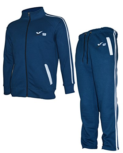 Sweater Suits (X-2 Mens Athletic Full Zip Fleece Tracksuit Jogging Sweatsuit Activewear Blue XXXL)