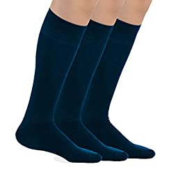 TeeHee Bamboo All Sports Half Cushion Socks with Arch Support 3-Pairs Pack (Youth (5-7), Navy)