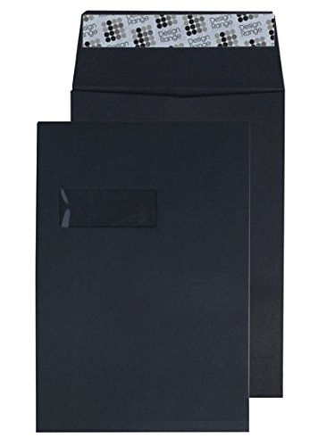 Creative Colour C4 324x229x25mm Gusset Pocket Peel and Seal Window Envelope - Jet Black (Pack of 125)