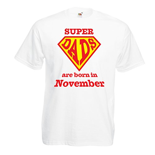 T Shirts for Men Super Hero Dads are Born in November him (XXXX-Large White Multi Color)
