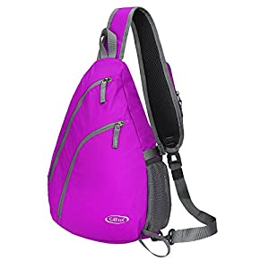 G4Free Sling Shoulder Backpack Chest Crossbody Bag One Strap bag for School Men Women, Girls Boys Lightweight Triangle Pack Rusksack Hiking Camping Bicycles Daypacks 15L(Rose)