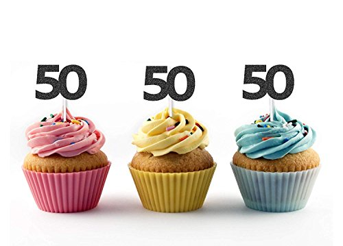 36pcs Golden Silver Black Number 50 Cupcake Toppers 50th Birthday Celebrating Party Decors by YIXIKJ (Image #2)