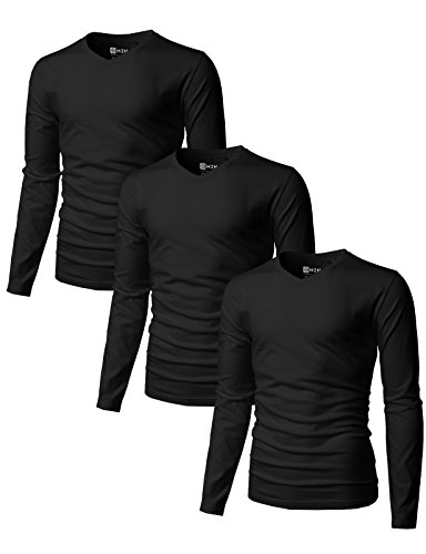 (H2H Men's Casual Slim Fit Basic T-shirts with V-Neck Long Sleeve BLACK US XS/Asia S (SET3KMTTL0374),3 pack)