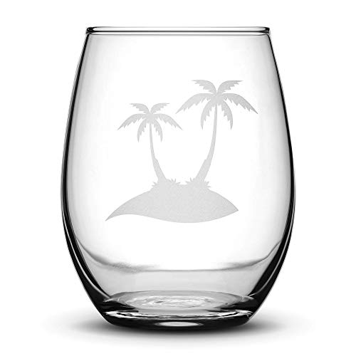 Integrity Bottles Premium Stemless Wine Glass, Double Palm Tree, Deep Etched 15 Ounce Unique Gifts, Made in USA, Sand Carved by Hand