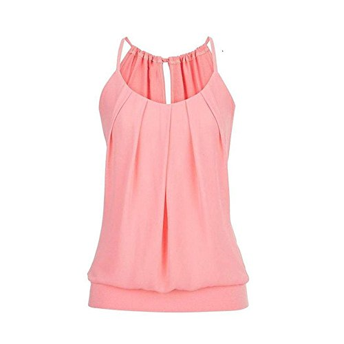 (Sunhusing Women's Loose Pleated Round Neck Drawstring Lace-Up Camisole Tank Tops Wrinkled Vest Pink)