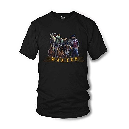 Terence Hill Bud Spencer T-Shirt - Wanted - Vier Fäuste für ein Halleluja (Schwarz) - Renato Casaro Edition