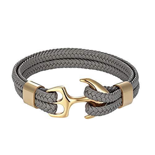 Cyan mango Stainless Steel Genuine Leather Bracelets & Bangles Fashion Vintage Anchor Bracelet for Men Women Sport Hook Male,23CM
