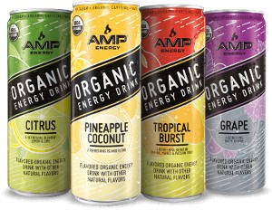 Amp Organic Energy Drink Variety Pack - Citrus, Pineapple Coconut, Grape, Tropical Burst - 12fl.oz. (Pack of 8)