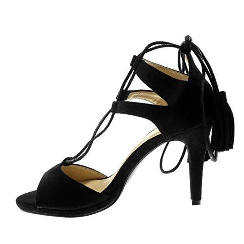 Frange Mode Angkorly Aiguille 9 Haut Chaussure Femme Pom Spartiates Noir Sandale Stiletto Pom cm Talon Escarpin 5 pqgR5zqw