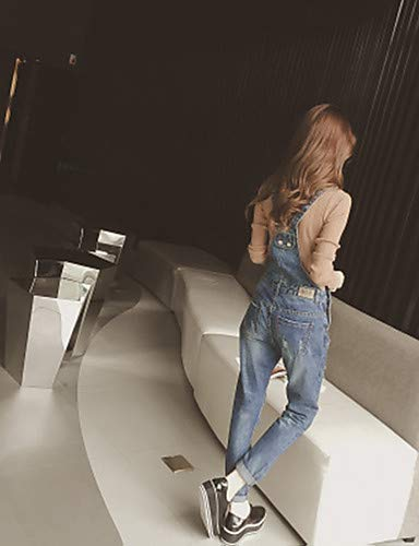 pour Jeans Pantalon Basse Femme YFLTZ Coton Solide Taille Blue en TIvxwOq