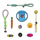 IBO Juguetes Interactivos para Perro Bola Trenzada de Masticar Set Surtido para Mascota de Algodón Bueno para Morder y Entrenar Puppy Chew Toys (Juego de 10)