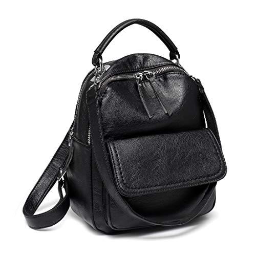 Mini Backpack Purse,ChaseChic Cute Flap Front Pocket Convertible Women Backpack Shoulder Bag for Women,Teen Girls Black ()