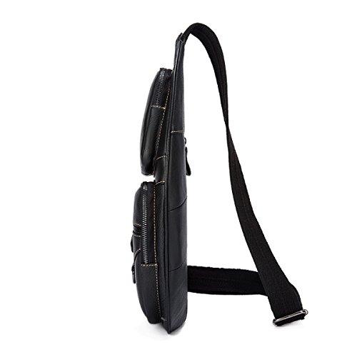 Bag black Black Bag Leather Shoulder Chest Messenger Retro Men's BxSqYTwvCB